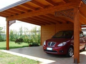 Carport legno due posti auto con casetta