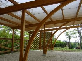 Carport in legno lamellare con antigrandine soltis